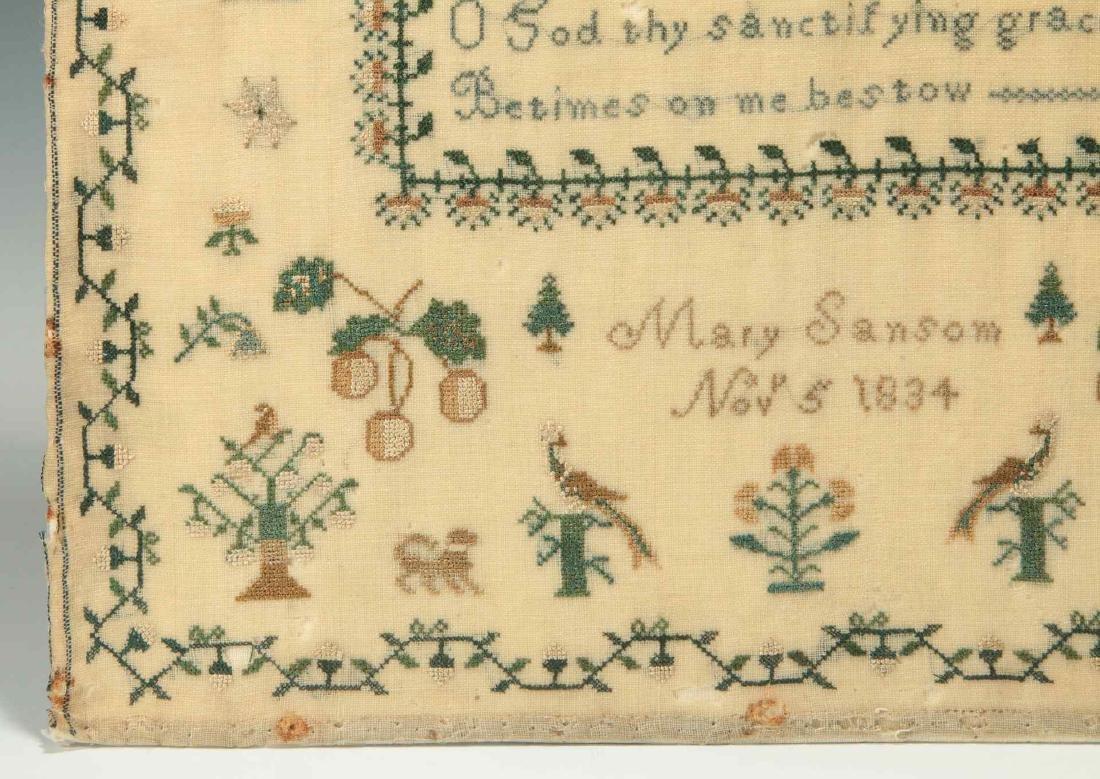 A SCHOOLGIRL CROSS STITCH SAMPLER DATED 1834 - 7