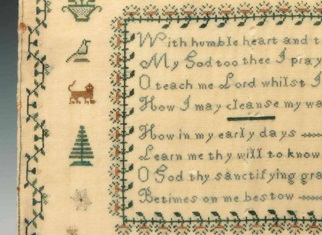 A SCHOOLGIRL CROSS STITCH SAMPLER DATED 1834 - 8