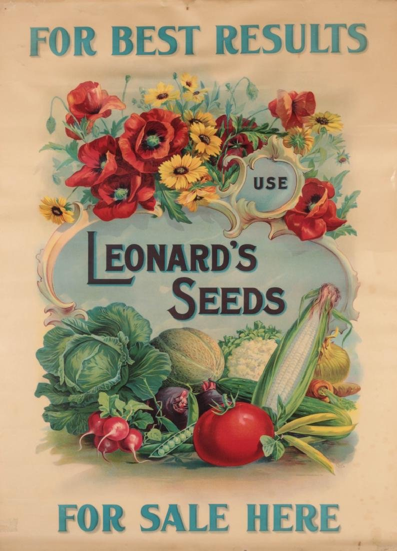 C. 1900 LEONARD'S SEEDS CHROMOLITHOGRAPH POSTER