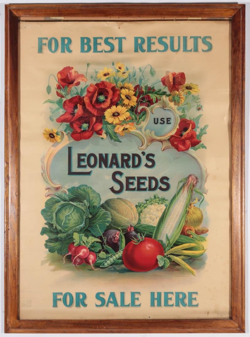 C. 1900 LEONARD'S SEEDS CHROMOLITHOGRAPH POSTER - 2