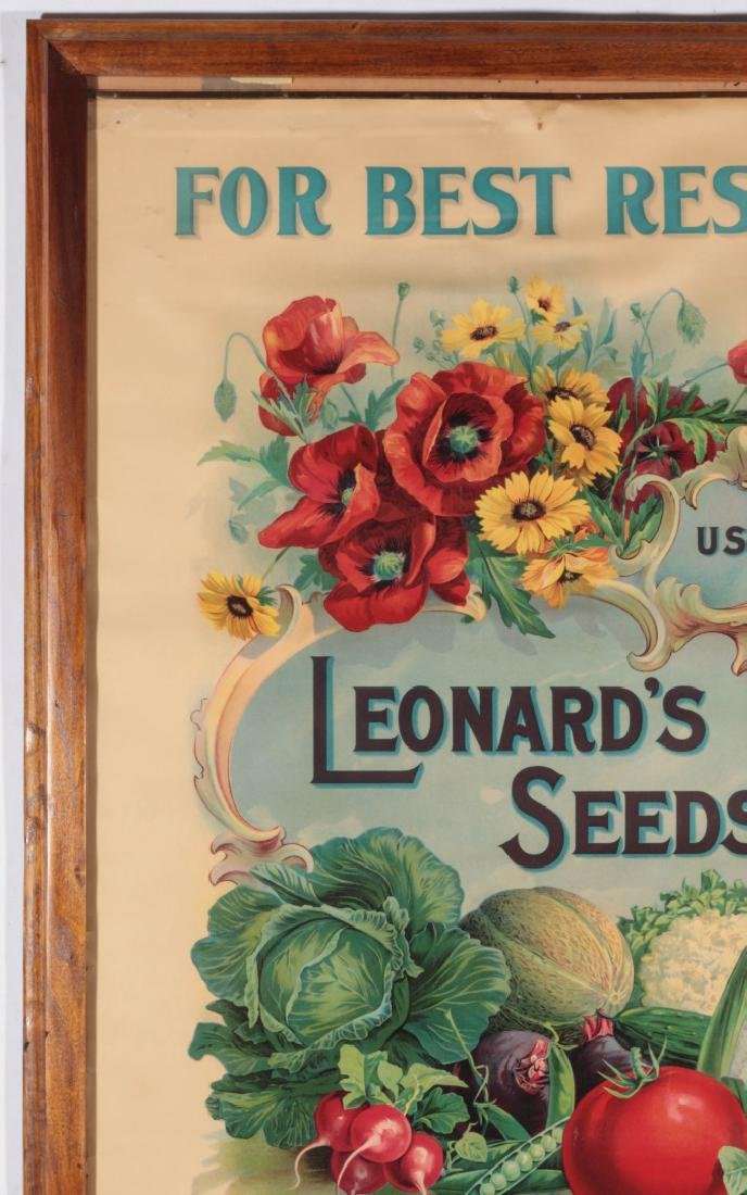 C. 1900 LEONARD'S SEEDS CHROMOLITHOGRAPH POSTER - 3