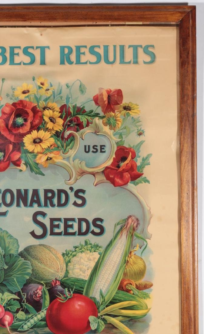 C. 1900 LEONARD'S SEEDS CHROMOLITHOGRAPH POSTER - 4