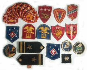 A COLLECTION OF 22 USMC AND USN WWII PATCHES