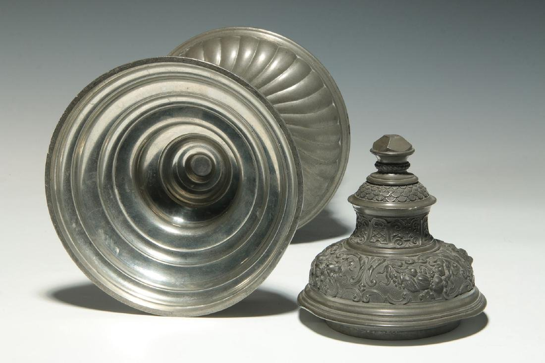 A LATE 19TH / EARLY 20TH C. ORNATE PEWTER POKAL - 10