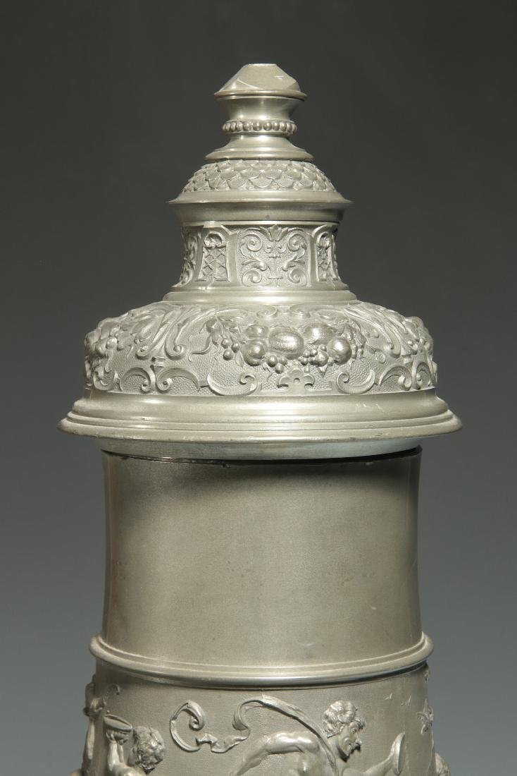 A LATE 19TH / EARLY 20TH C. ORNATE PEWTER POKAL - 3
