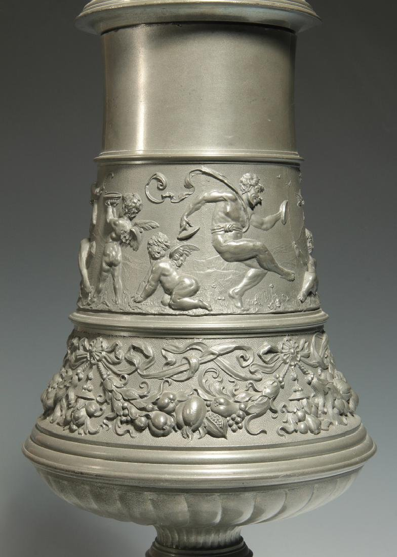 A LATE 19TH / EARLY 20TH C. ORNATE PEWTER POKAL - 4