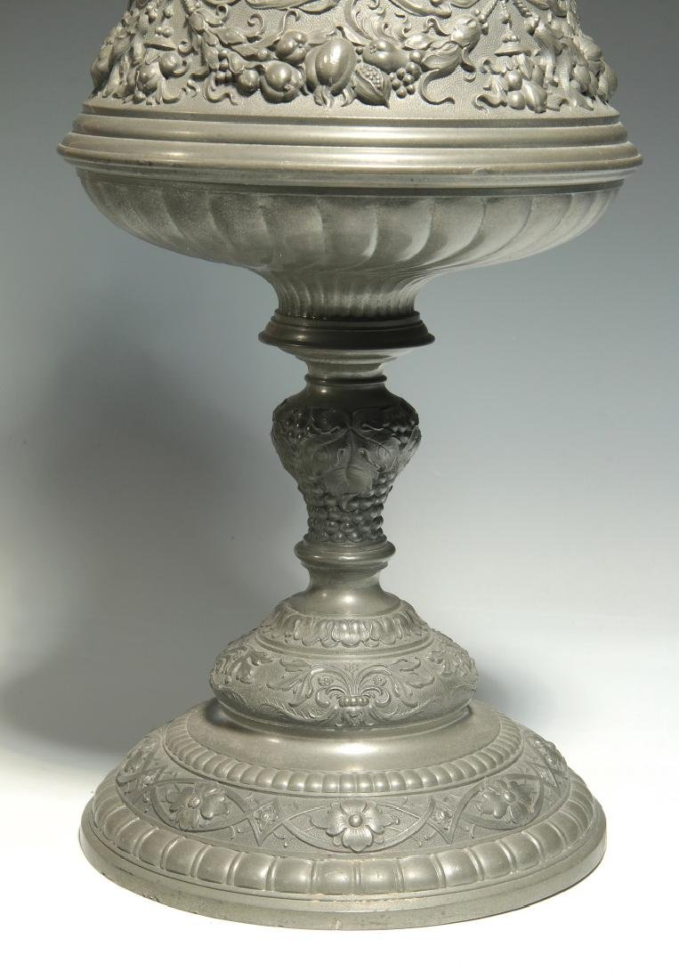 A LATE 19TH / EARLY 20TH C. ORNATE PEWTER POKAL - 5