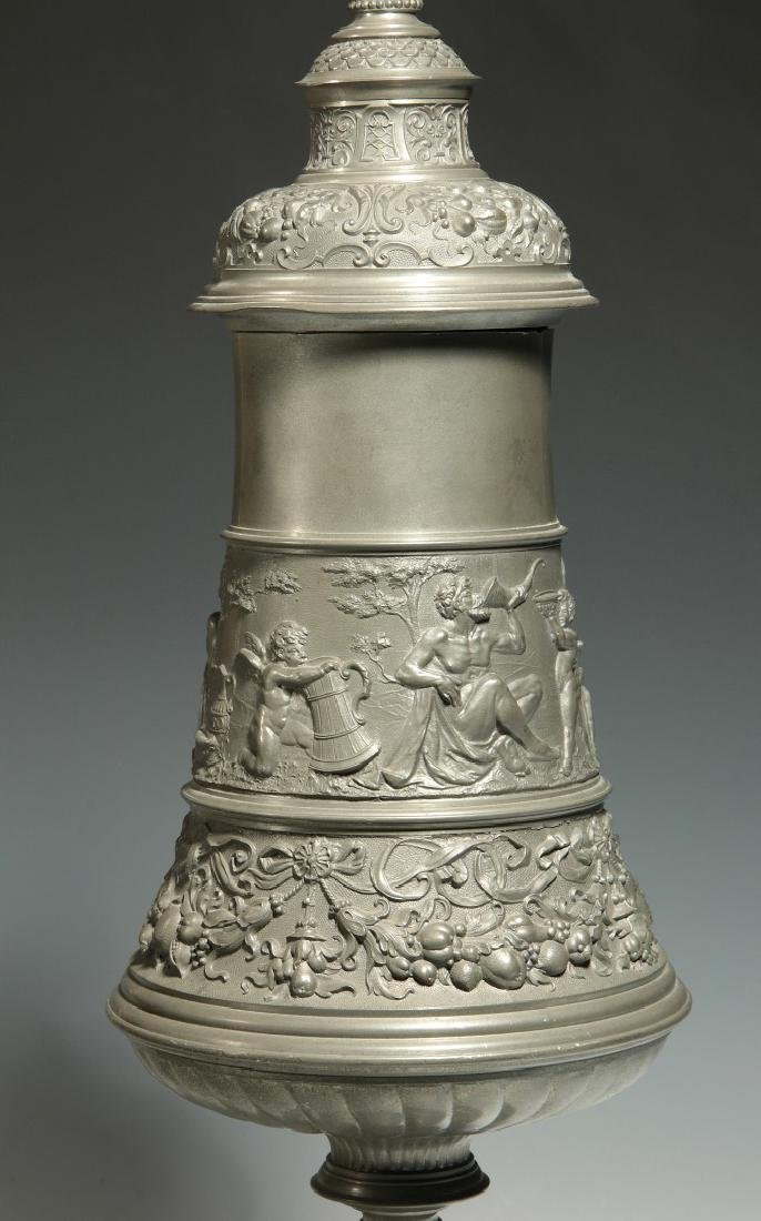 A LATE 19TH / EARLY 20TH C. ORNATE PEWTER POKAL - 7