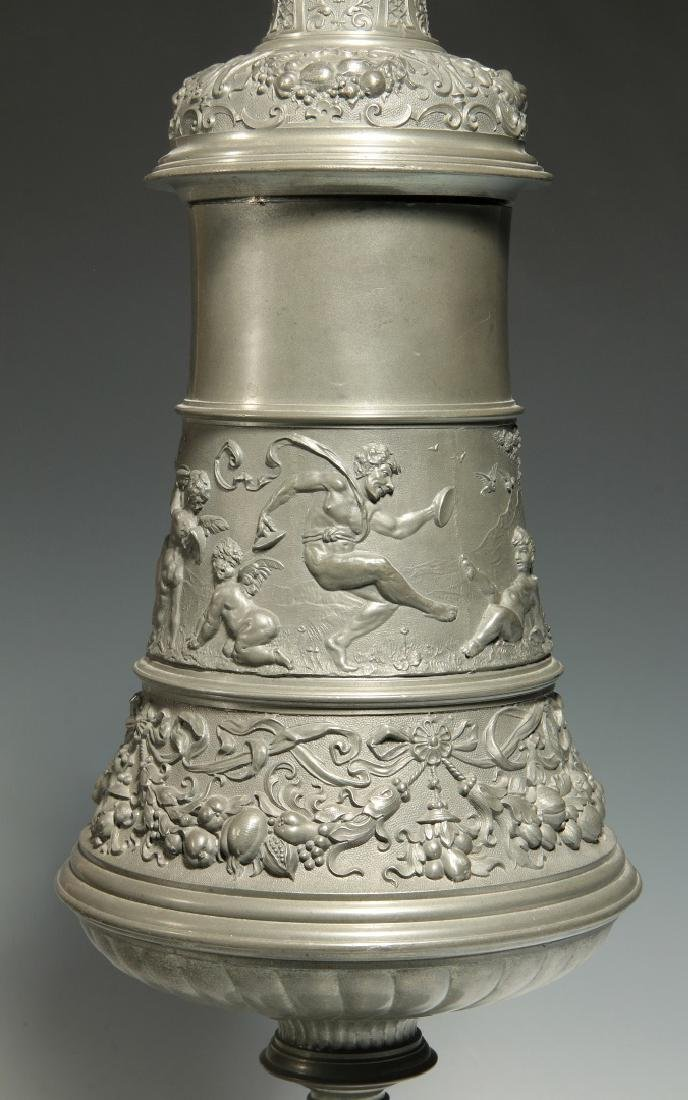 A LATE 19TH / EARLY 20TH C. ORNATE PEWTER POKAL - 8