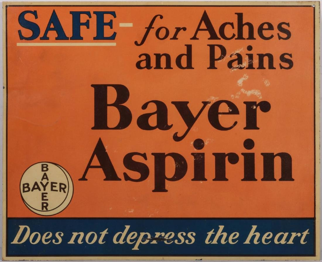 A CIRCA 1935 BAYER ASPIRING TIN ADVERTISING SIGN