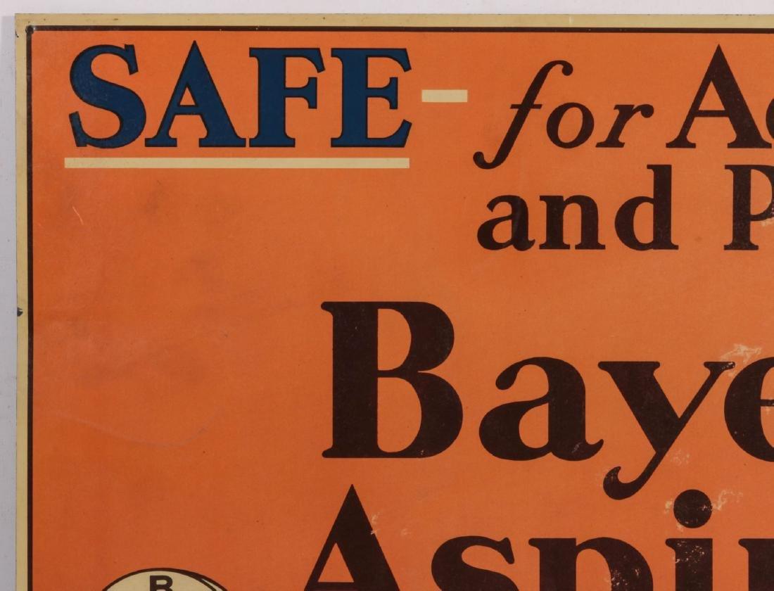 A CIRCA 1935 BAYER ASPIRING TIN ADVERTISING SIGN - 2