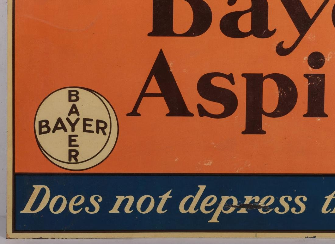 A CIRCA 1935 BAYER ASPIRING TIN ADVERTISING SIGN - 5