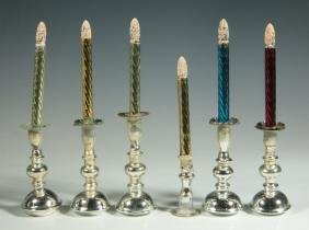 UNUSUAL ANTIQUE MINIATURE MERCURY GLASS CANDLES