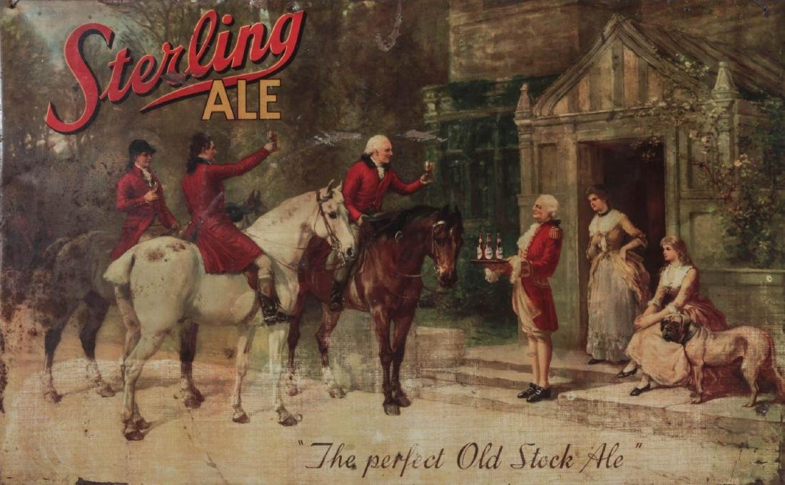 A VINTAGE STERLING ALE TIN LITHOGRAPH SIGN