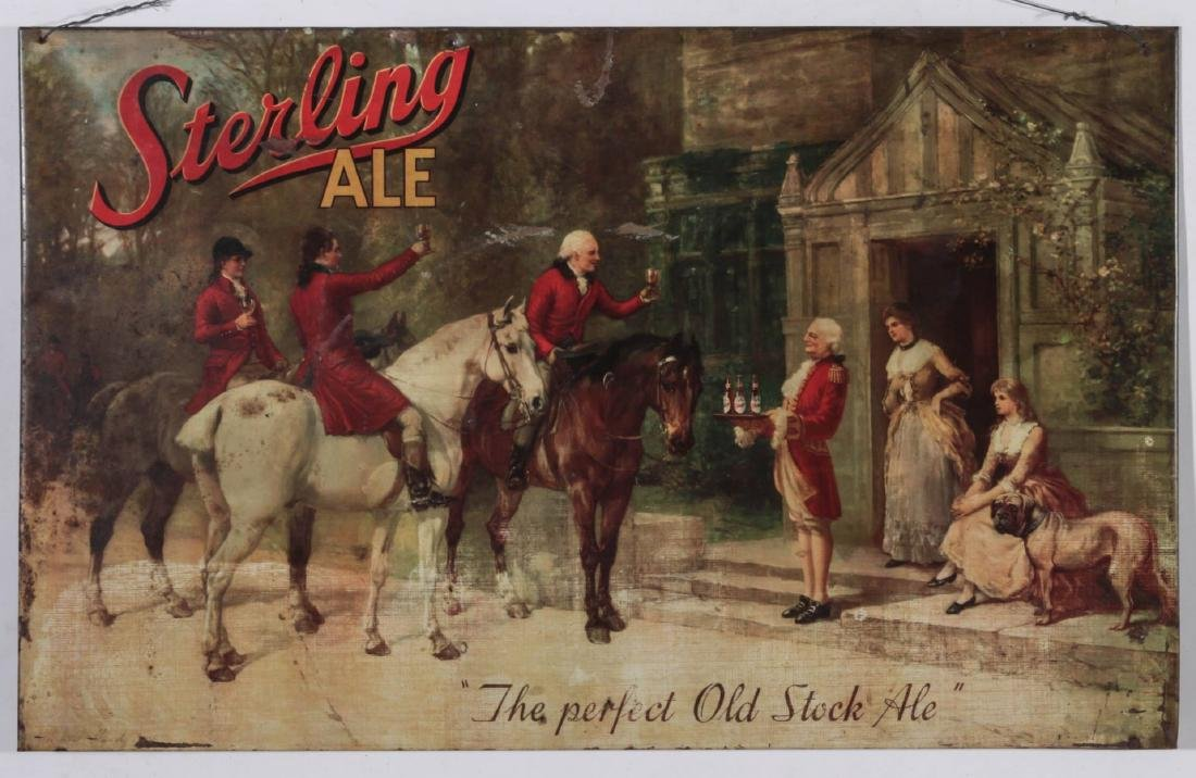 A VINTAGE STERLING ALE TIN LITHOGRAPH SIGN - 2