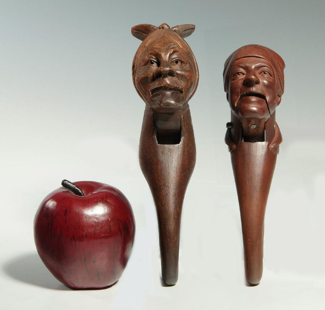 TWO C.1900 BLACK FOREST CARVED WOOD NUT CRACKERS - 2