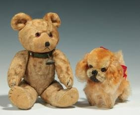 VINTAGE STUFFED MOHAIR BEAR AND POODLE