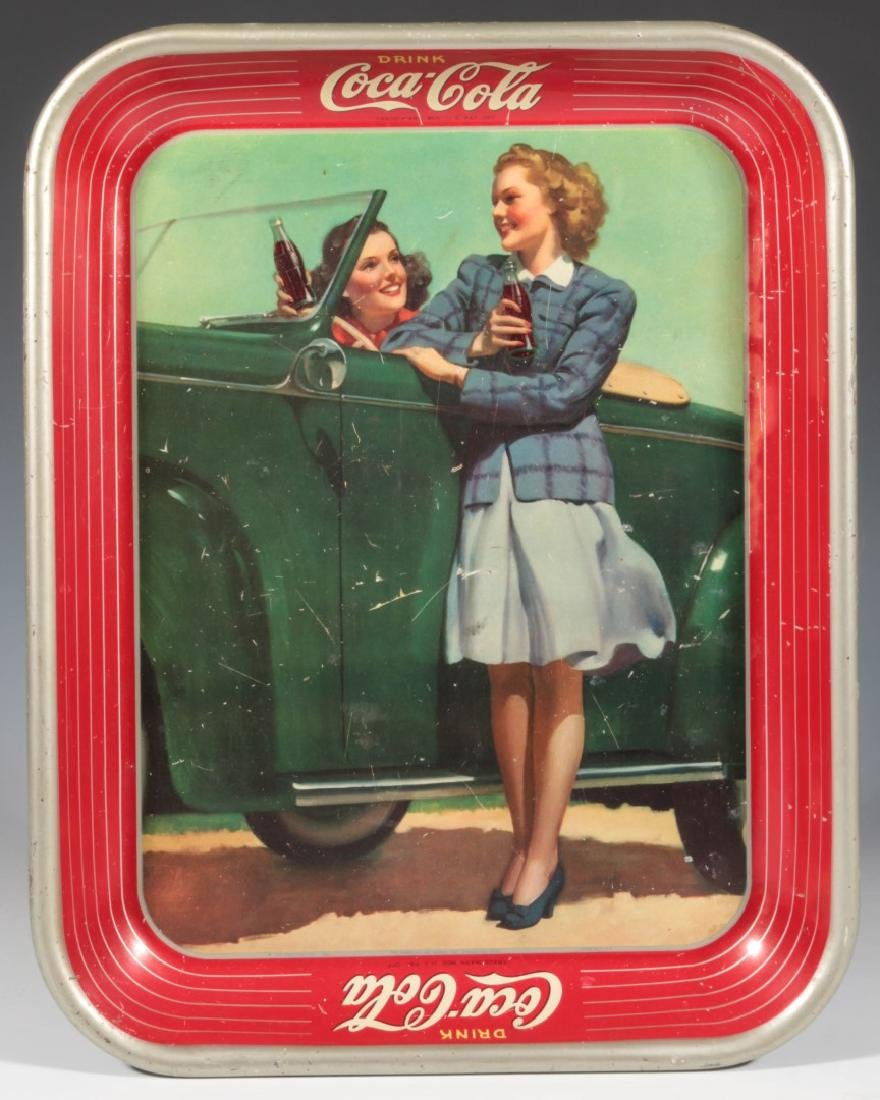 A 1942 COCA COLA TRAY TWO GIRLS AT AUTOMOBILE