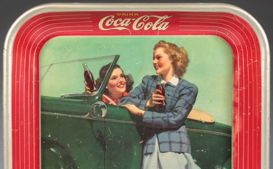 A 1942 COCA COLA TRAY TWO GIRLS AT AUTOMOBILE - 2