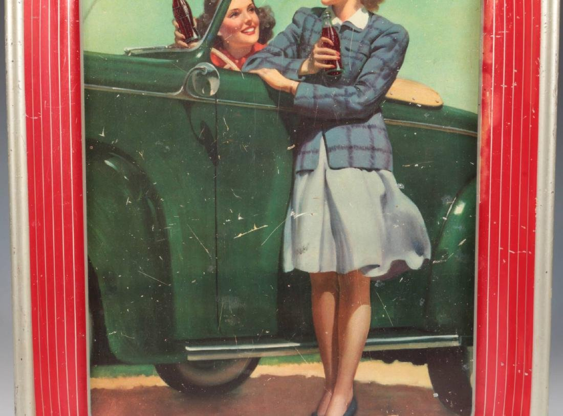 A 1942 COCA COLA TRAY TWO GIRLS AT AUTOMOBILE - 3