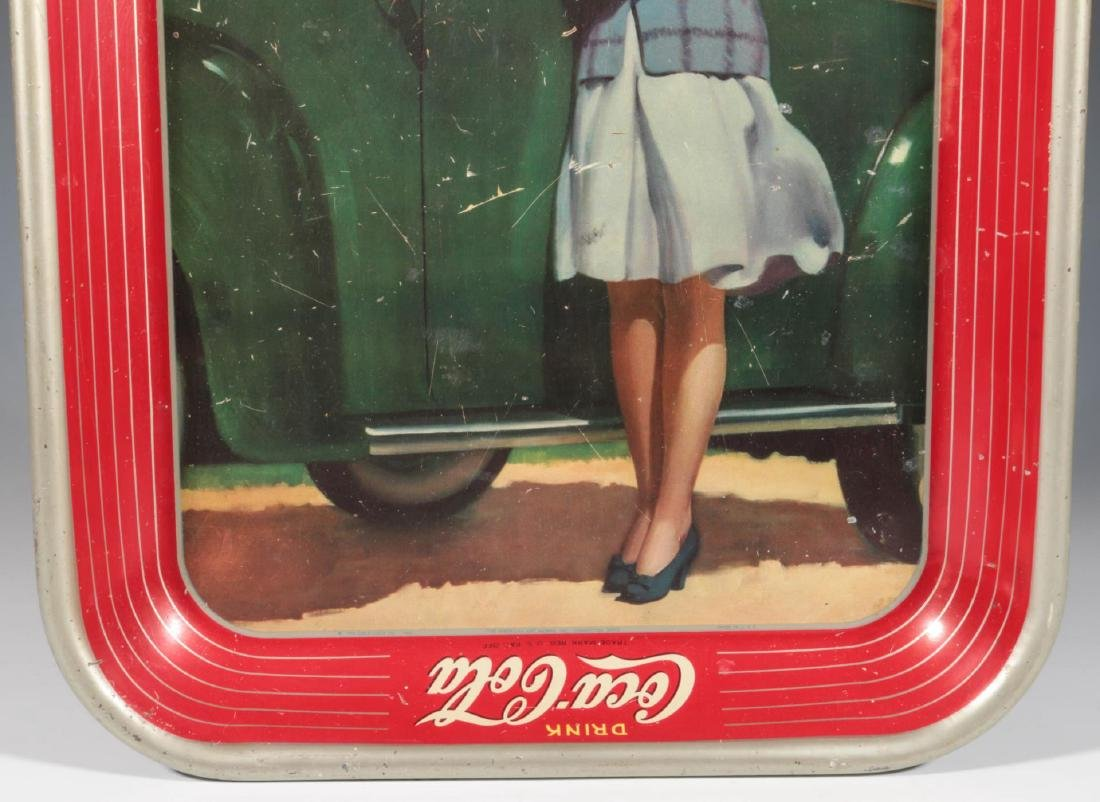 A 1942 COCA COLA TRAY TWO GIRLS AT AUTOMOBILE - 4