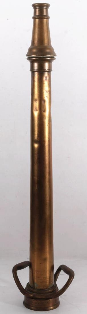 AN ANTIQUE BRASS 30-INCH FIRE NOZZLE - 6