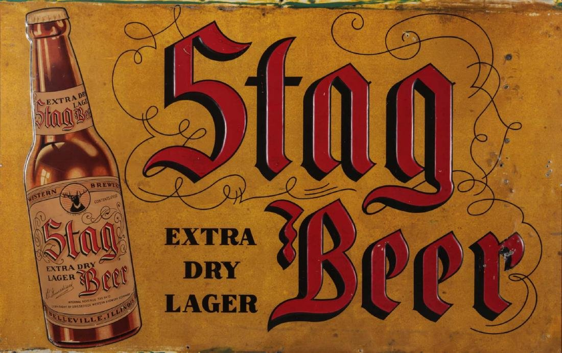 A VINTAGE EMBOSSED TIN STAG BEER EXTRA LAGER SIGN