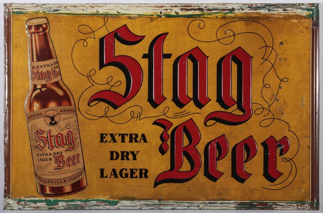 A VINTAGE EMBOSSED TIN STAG BEER EXTRA LAGER SIGN - 2