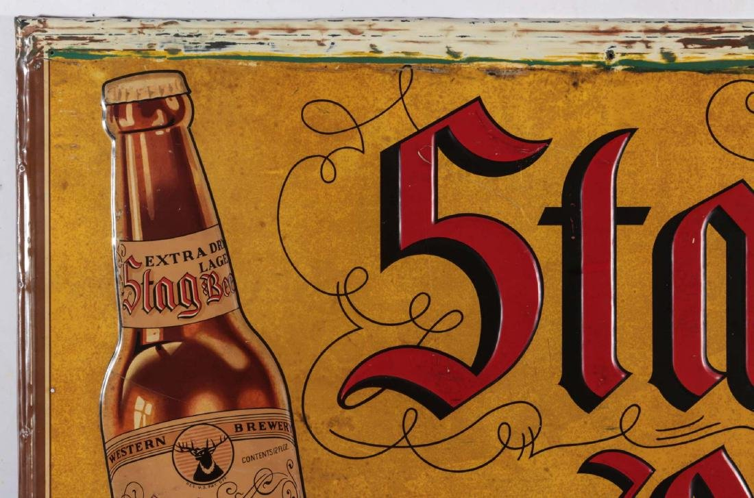 A VINTAGE EMBOSSED TIN STAG BEER EXTRA LAGER SIGN - 3