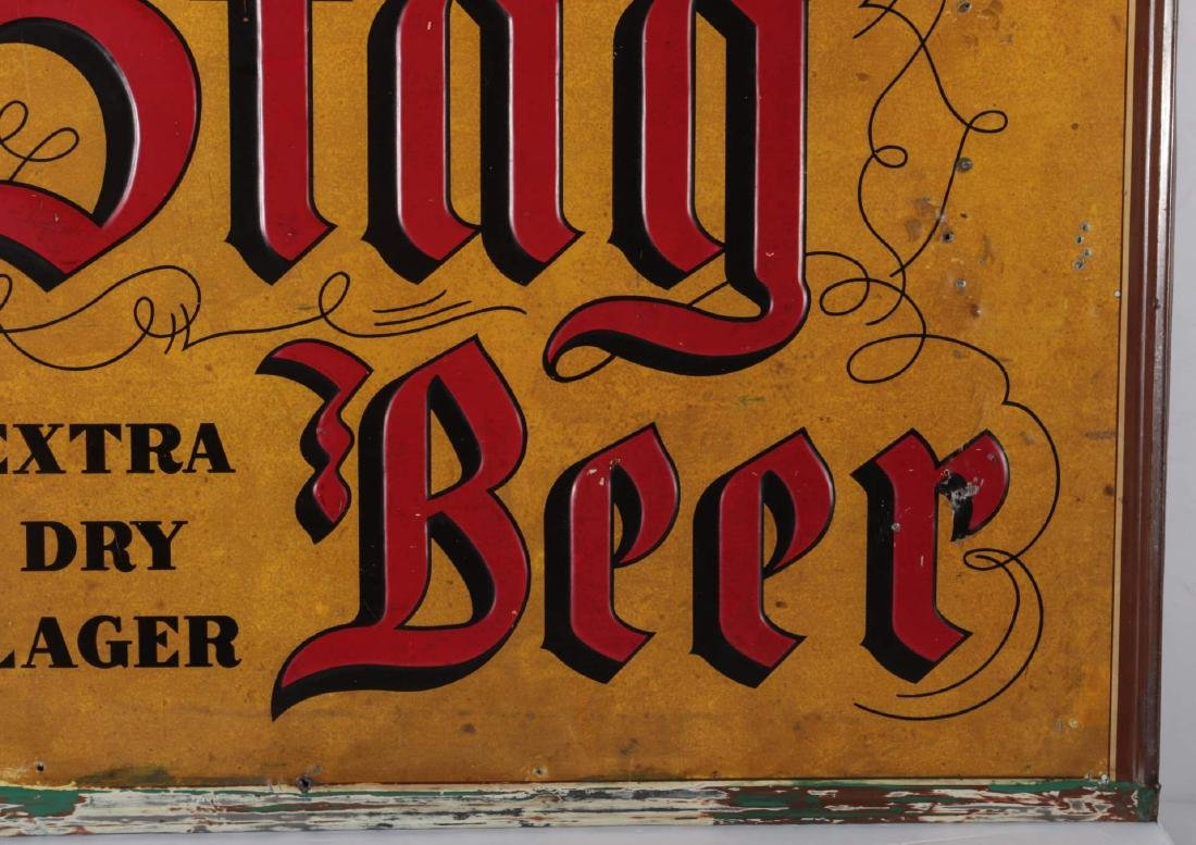A VINTAGE EMBOSSED TIN STAG BEER EXTRA LAGER SIGN - 5