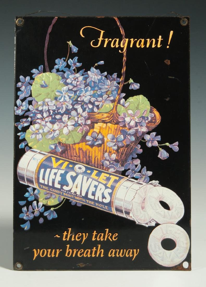 A VINTAGE PORCELAIN SIGN FOR LIFE SAVERS CANDY