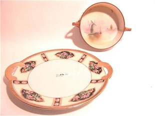 TWO PIECES OF NORITAKE NIPPON PLATE AND OPEN BOWL