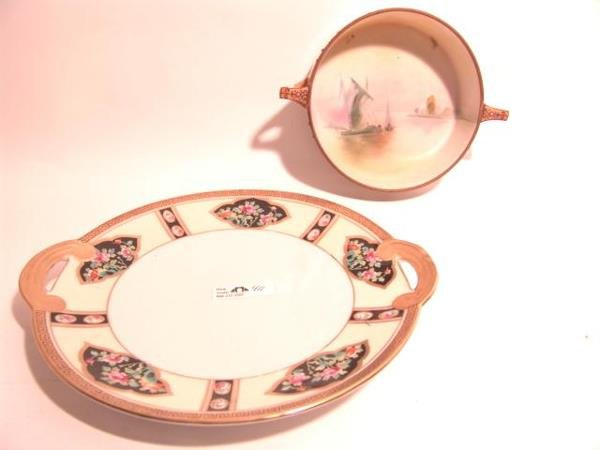 411: TWO PIECES OF NORITAKE NIPPON PLATE AND OPEN BOWL