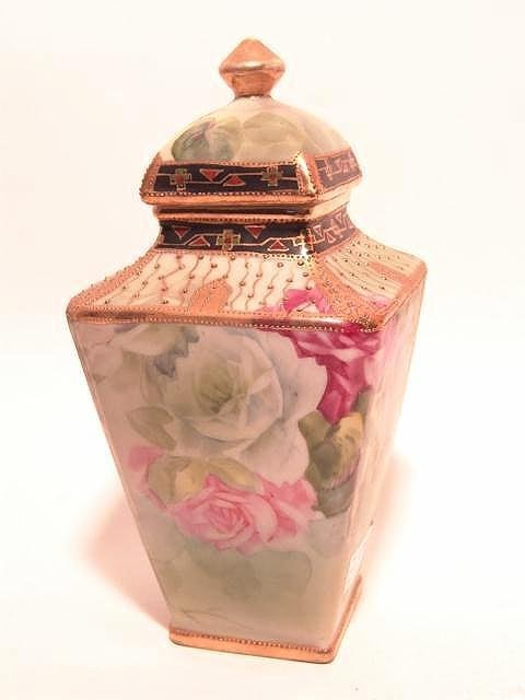 422: NORITAKE NIPPON COVERED VASE WITH ROSES