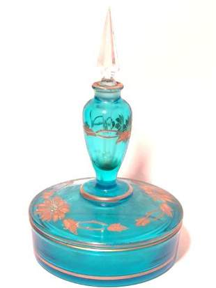 ELECTRIC BLUE POWDER DISH WITH PERFUME TOP