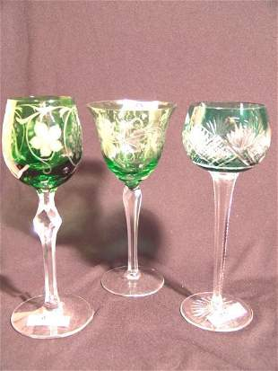 THREE CUT GLASS GOBLETS IN GREEN TO CLEAR