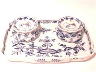 RARE MEISSEN BLUE ONION DOUBLE INKWELL ON TRAY