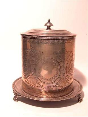 ENGLISH ENGRAVED BISCUIT BARREL ON FOOTED STAND