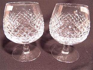 TWO CUT CRYSTAL SNIFTERS SIGNED WATERFORD