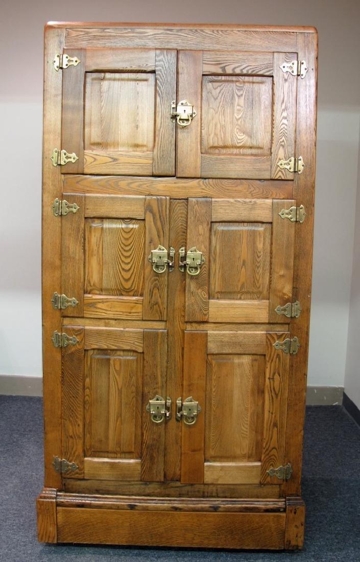 A PERFECT 19TH CENTURY ASH WOOD SIX DOOR ICE BOX
