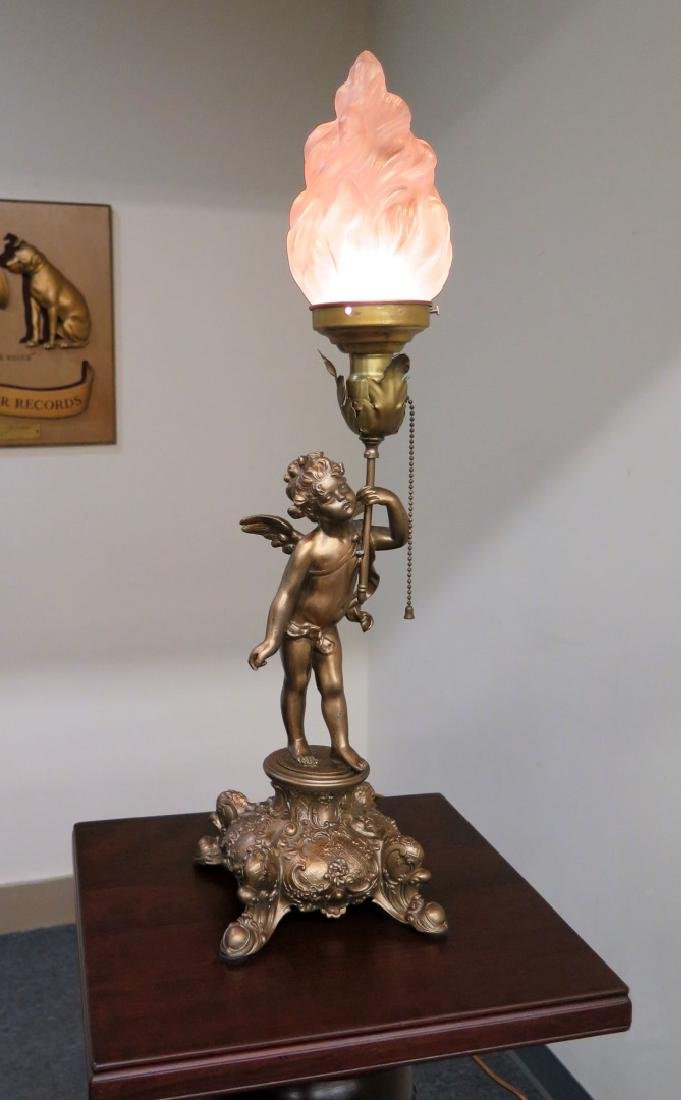 A CUPID FIGURAL BOUDOIR LAMP WITH TORCH SHADE - 5