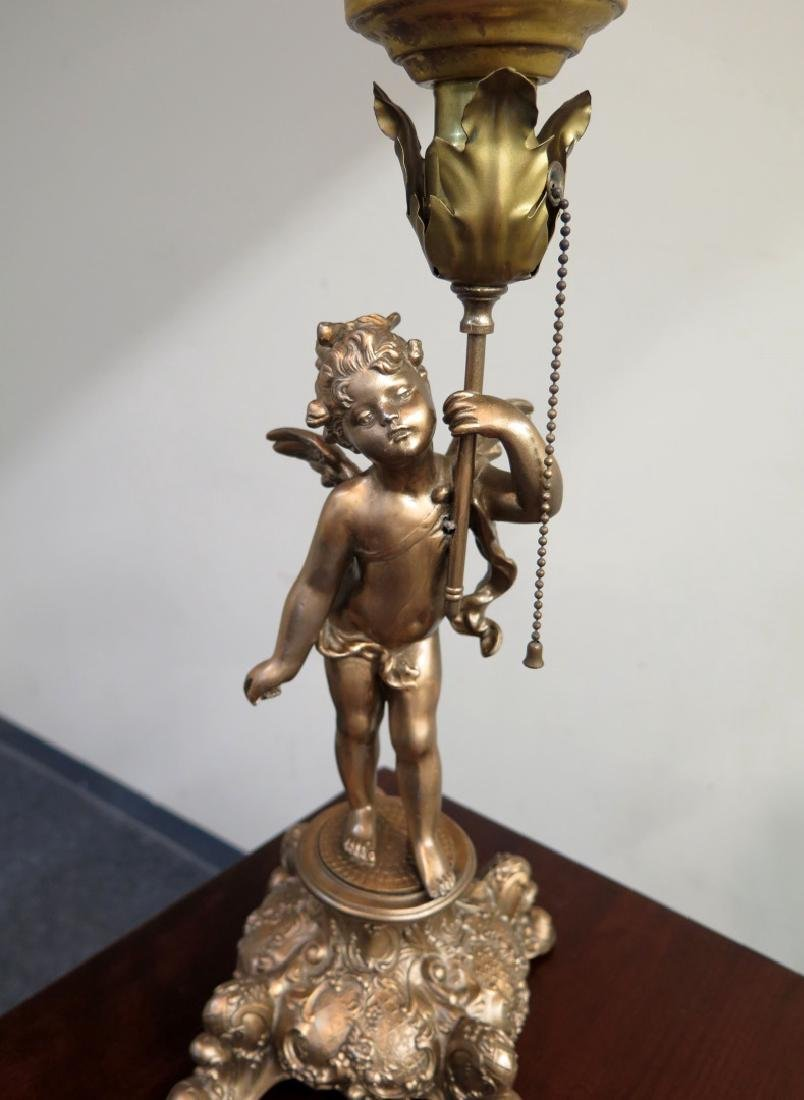 A CUPID FIGURAL BOUDOIR LAMP WITH TORCH SHADE - 6