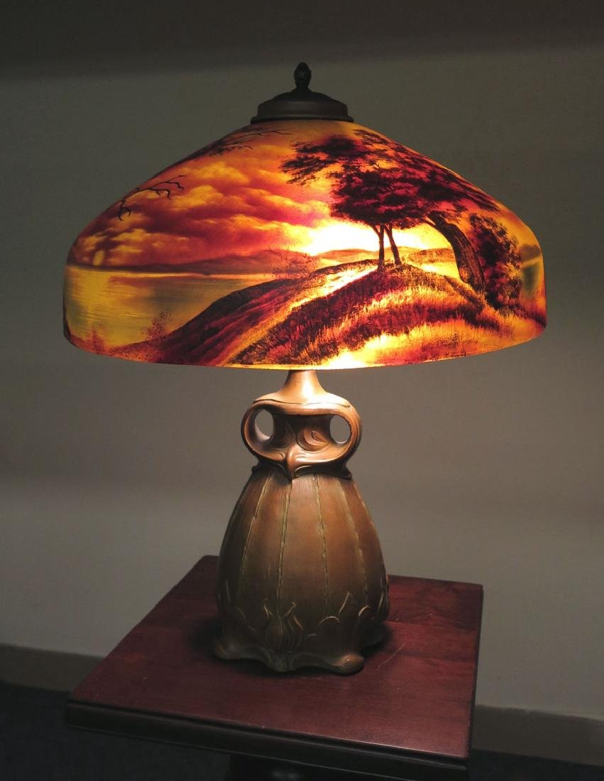 A PITTSBURGH REVERSE PAINTED FOREST OWL TABLE LAMP