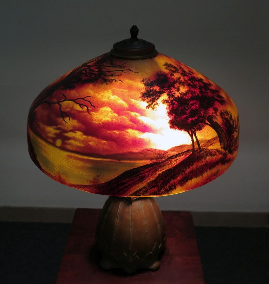 A PITTSBURGH REVERSE PAINTED FOREST OWL TABLE LAMP - 2