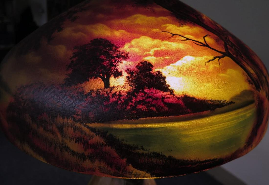 A PITTSBURGH REVERSE PAINTED FOREST OWL TABLE LAMP - 5