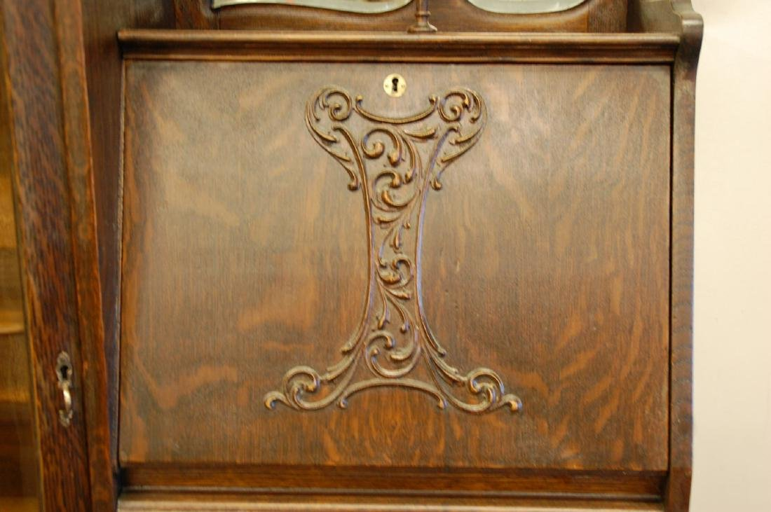 OAK WINGED GRIFFIN SECRETARY BOOKCASE WITH CURIO - 4