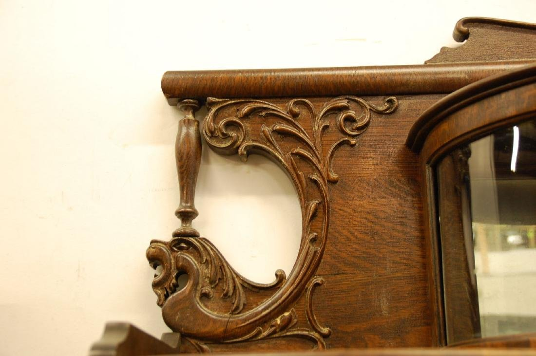 OAK WINGED GRIFFIN SECRETARY BOOKCASE WITH CURIO - 5