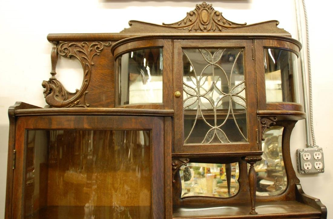 OAK WINGED GRIFFIN SECRETARY BOOKCASE WITH CURIO - 6