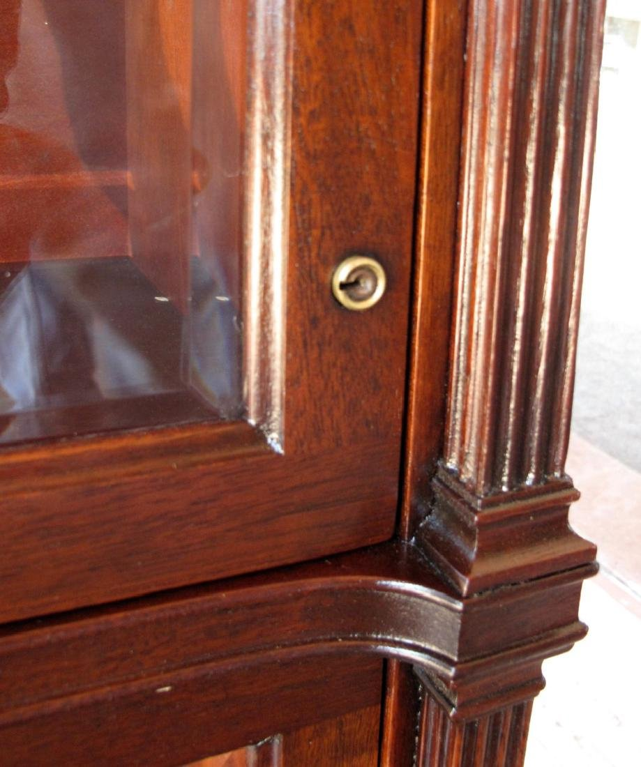 A RARE STACK BOOKCASE WITH CUBBY BETWEEN LEADED GLASS - 2