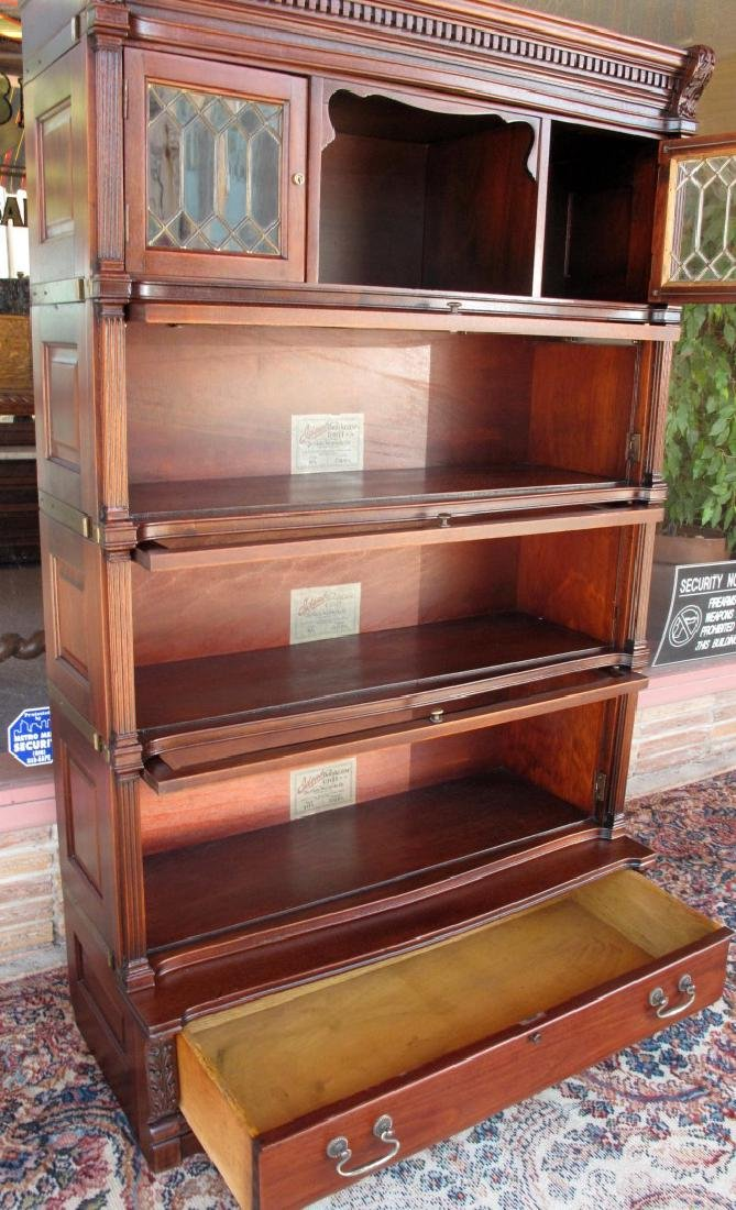 A RARE STACK BOOKCASE WITH CUBBY BETWEEN LEADED GLASS - 4